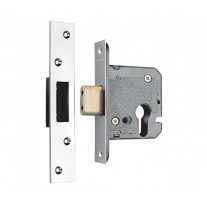 Euro Deadlock Cylinder Lockcase in Satin Stainless Steel SEU524-2