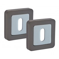 Square Keyhole Escutcheon Pair with Duo Black Finish F8310DBL