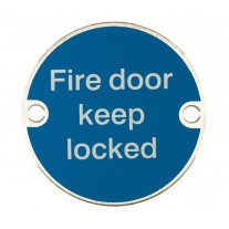Fire Door Sign Keep Locked Symbol Satin Stainless Steel A2021S