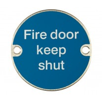 Fire Door Sign Keep Shut Symbol Satin Stainless Steel A2020S