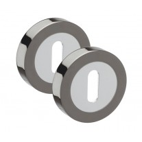 Duo Black Nickel & Polished Chrome Standard 10mm Keyhole Escutcheon Pairs A8631DB