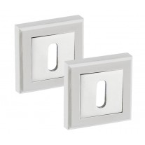 Square 10mm Keyhole Escutcheon with Chrome White Finish A8641PCW