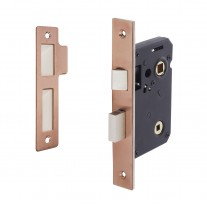 Copper Bathroom Mortice Lock 63mm / 45mm Backset