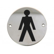 Male Toilet Sign for Toilet Doors in Polished Stainless Steel A2001P