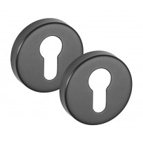 Matte Black Escutcheon Pair Euro Profile 10mm A8510BL