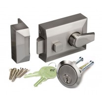 Night Latch Lock for Front Doors with Brushed Chrome Finish L11160SN