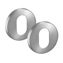 Oval Escutcheon Pair 6mm in Satin Stainless Steel A8406S