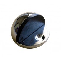 Floor Door Stop with Black Rubber Buffer and Polished Stainless Steel Finish