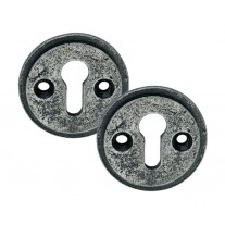 Pewter Escutcheon Keyhole Cover Plates with Aged Finish SB107-PEWTER