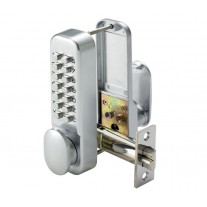 Push Button Digital Door Lock with Holdback Feature and Satin Finish L112310S