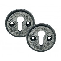 Pewter Escutcheon Keyhole Cover Plates with Aged Finish