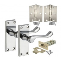 Chrome Door Handle Packs with Scroll Lever Handles, Latch & Hinges H751011P HL1