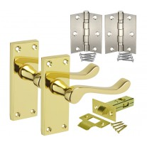 Brass Door Handle Packs with Scroll Lever Handles on Backplate, Latch & Hinges H751011PB HL1
