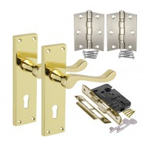 Brass Door Handle Packs with Scroll Lever Handles on Key Lock Backplate H751012PB HL1