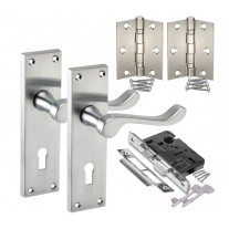 Backplate Door Handle Packs with Satin Chrome Scroll Handles, Lock and Hinges H751012SC HL1