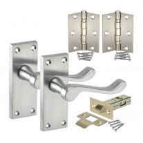 Traditional Door Handle Packs with Backplate Handles, Latch and Hinges H751011SC HL1