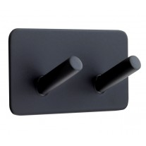 Self Adhesive Modern Black Coat Hooks with Double Peg T542BL
