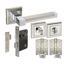 Square Rose Bathroom Door Handle Packs with Lock, Turn and Hinges H750061D HB1