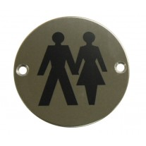 Unisex Toilet Door Sign / Symbol Polished Stainless Steel A2004P