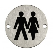 Unisex Toilet Sign for Toilet Doors in Brushed Stainless Steel A2004S