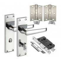 Traditional Door Handle Packs for Bathroom with Lock, Thumb Turn & Hinges H751024P HB1