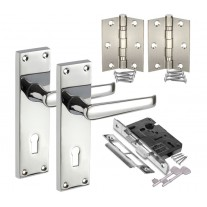 Traditional Door Handle Packs with Handles on Backplate, Lock and Hinges H751022P HL1