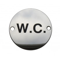 WC Toilet Door Sign / Symbol Polished Stainless Steel A2006P