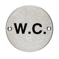 WC Toilet Door Sign with Brushed Stainless Steel Finish A2006S