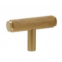 Knurled T Bar Brass Cupboard Handle 50mm Satin Brass X88026SB